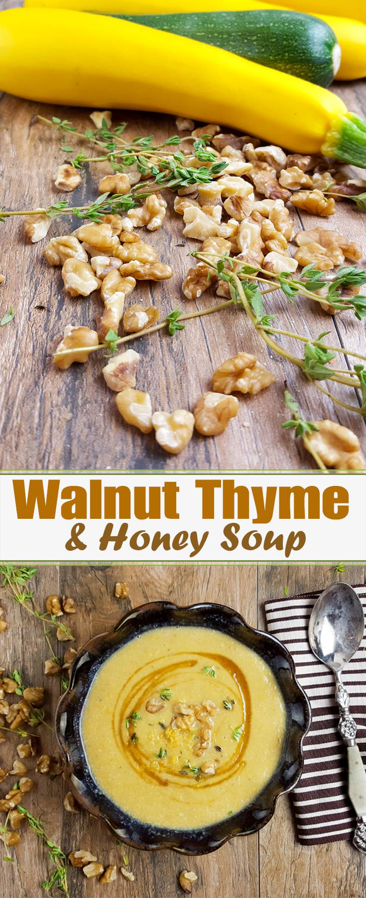 A sophisticated soup that takes so little effort, you'll be making this on weeknights. The creamy walnut soup is perfect with a drizzle of honey.