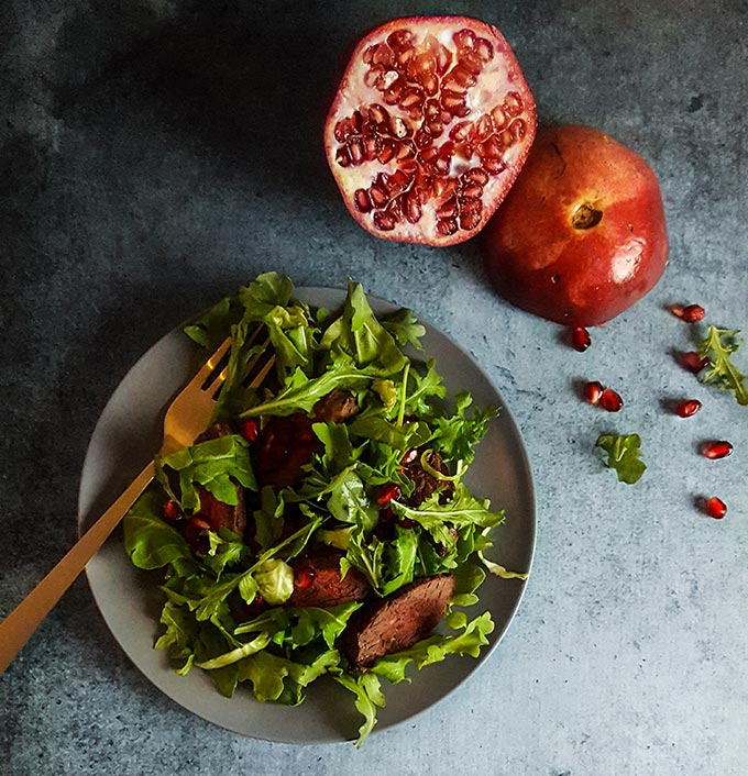 Pomegranate steak salad