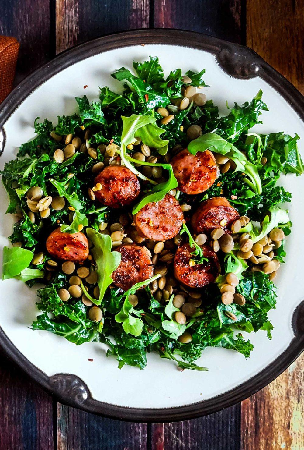Sausage Lentil Kale Salad with Mustard Vinaigrette.