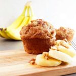 This banana nut muffin recipe replaces butter with peanut butter, milk with almond milk, and reduced sugar. It's a healthy snack recipe or great for breakfast. Vegetarian and dairy free.