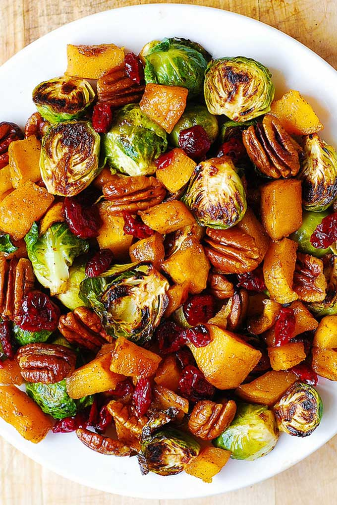 Brussels sprouts, squash, pecans and cranberries recipe