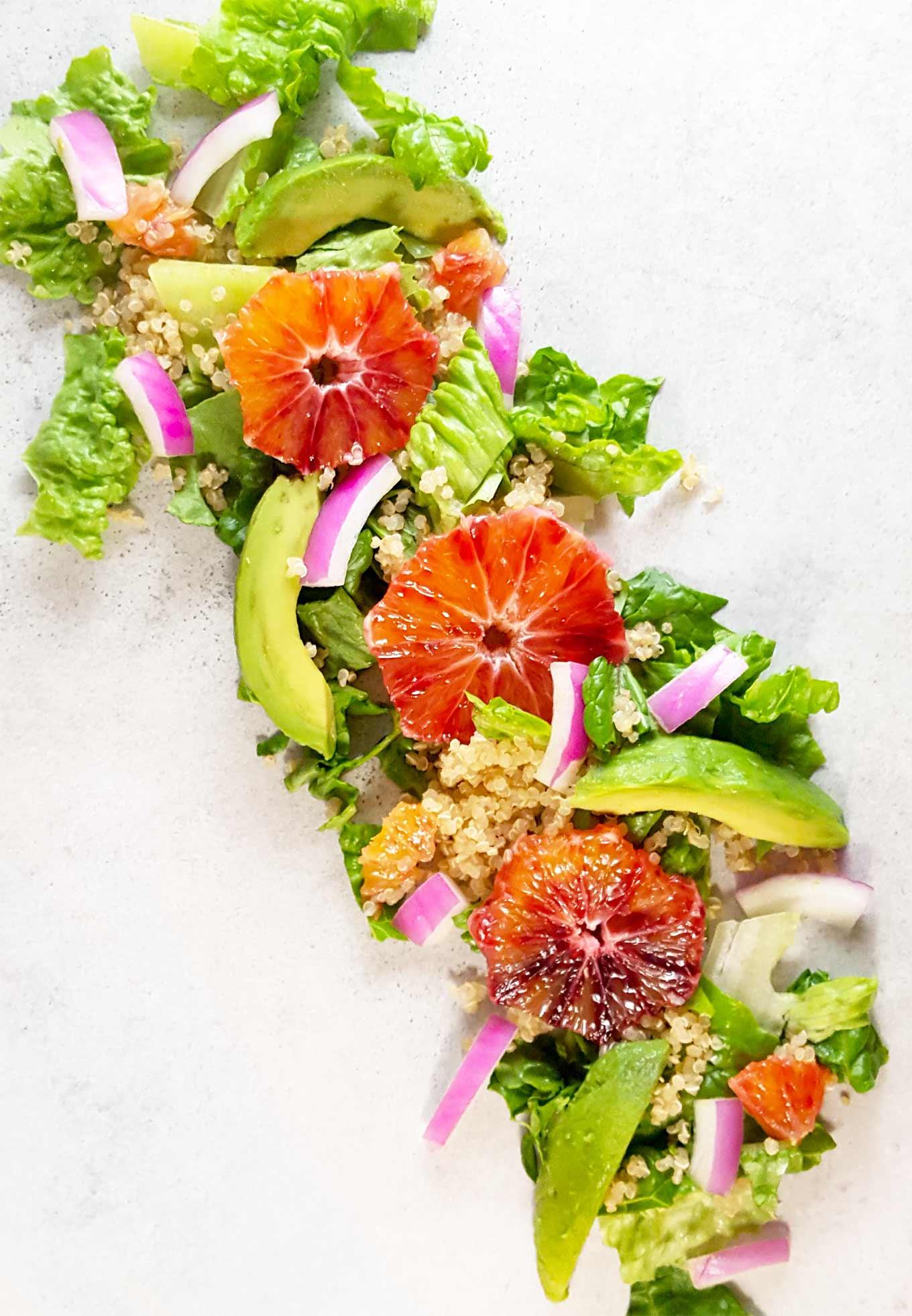 Orange avocado salad with orange-rosemary scented quinoa