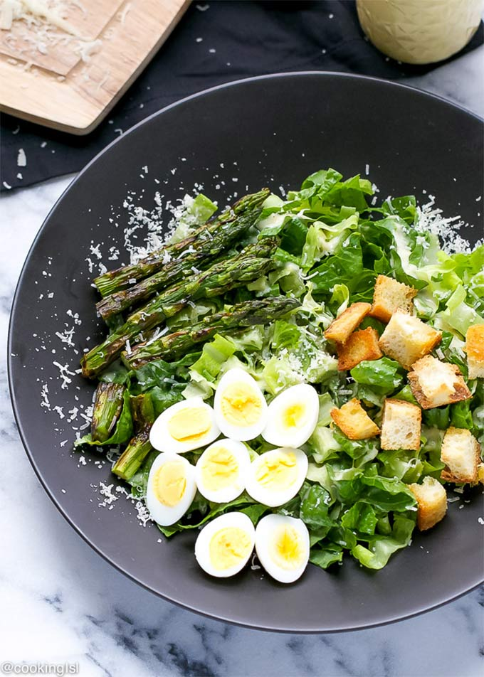 Caesar salad with grilled asparagus and eggs - recipe by Cooking LSL