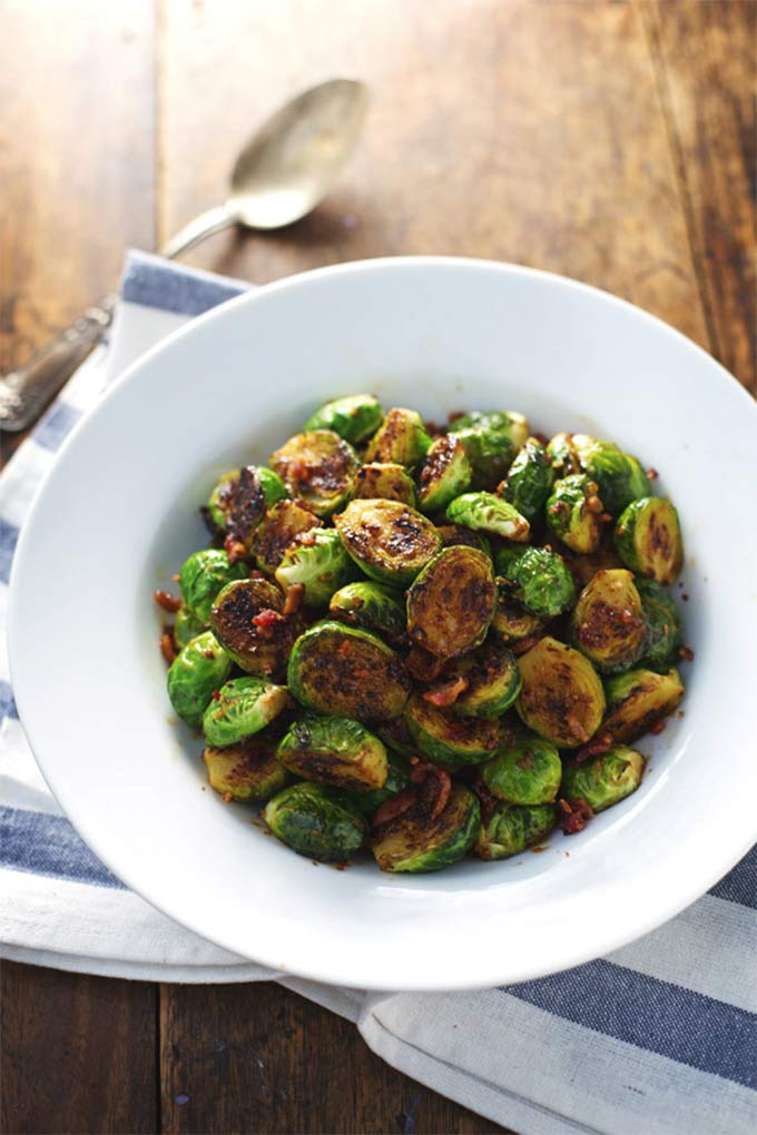 Caramelized brussels sprouts with maple-orange glaze - by Pinch of Yum