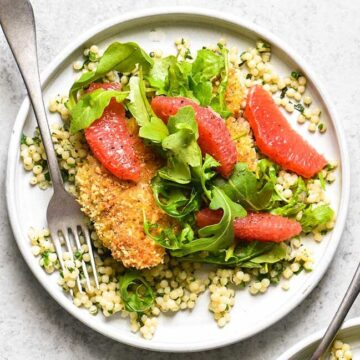 Cashew chicken with grapefruit and couscous