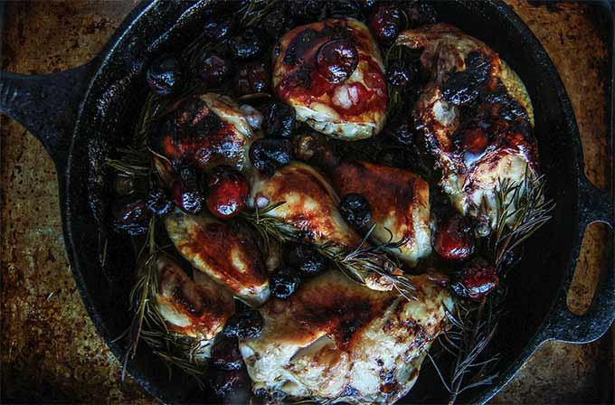 Cherry, rosemary, and balsamic roasted chicken