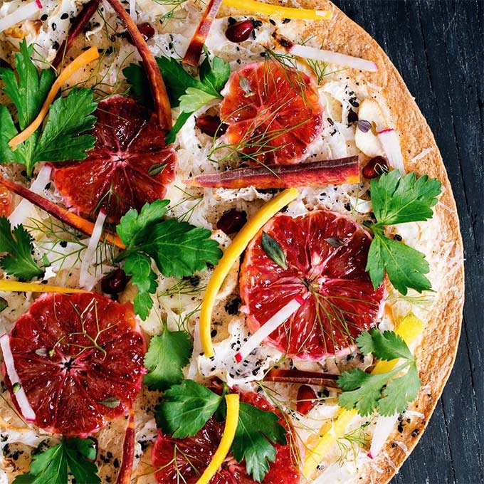 Fennel blood orange tortilla pizza