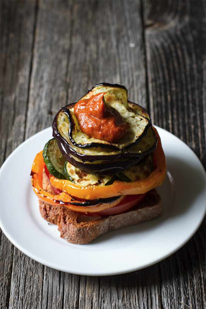 Grilled vegetable sandwich with rhubarb bbq sauce by Edible Perspective