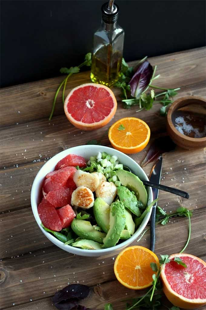 Seared scallop grapefruit salad by The Wooden Skillet