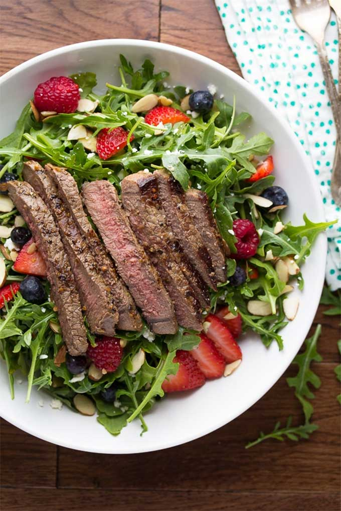 Strawberry arugula steak salad by Sweet Peas & Saffron