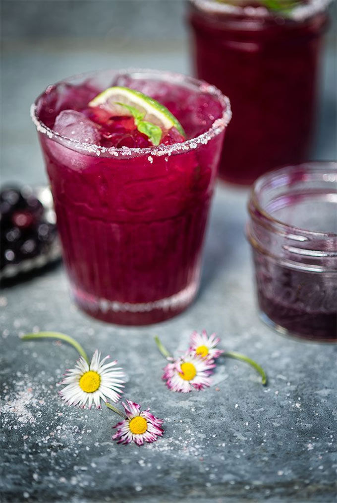 Blueberry basil margaritas - recipe by Supergolden Bakes