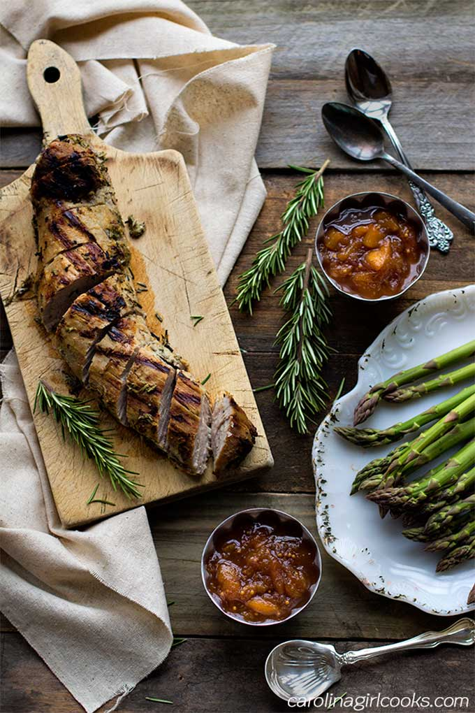 Pork with plum chutney, perfect anytime in summer
