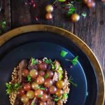 Seared steak with farro and roasted grapes