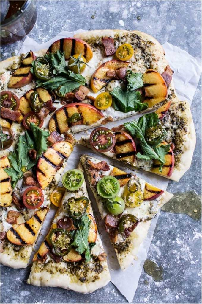 BLT peach pizza with jalapeno honey and gorgonzola by The Inspired Kitchen