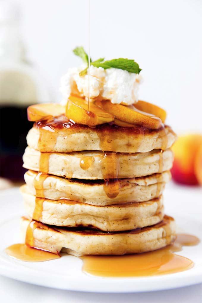 Boubon peach pancakes by Broma Bakery