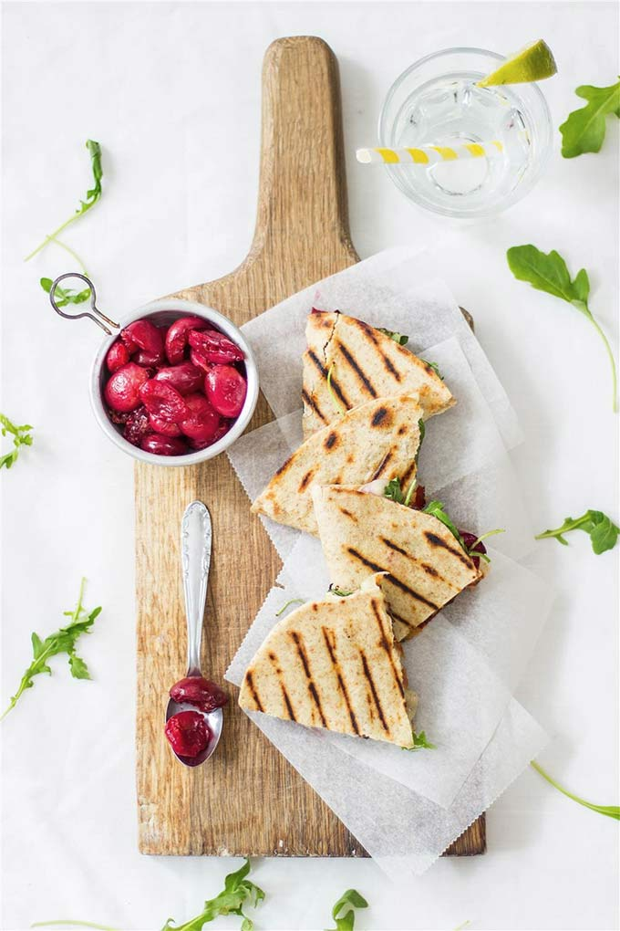 Cherry, brie and bacon quesadillas - by Use Your Noodles