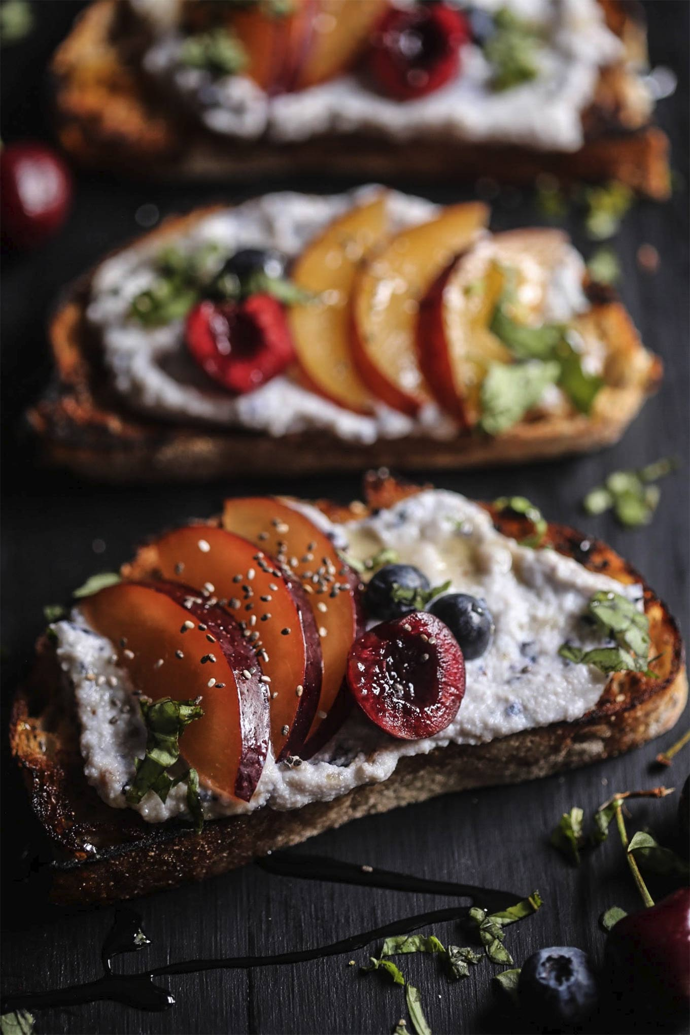 Cherry plum toast with blueberry whipped ricotta by Climbing Grier Mountain