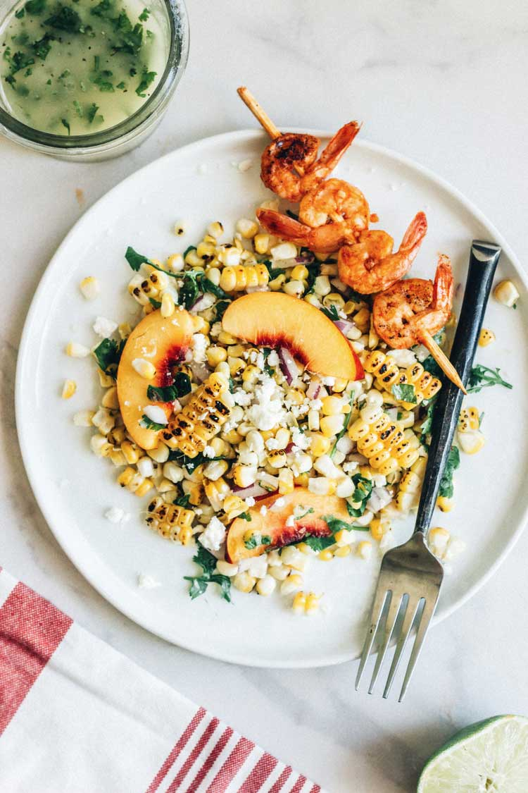 Nectarine corn salad with chipotle shrimp by The Whole Bite