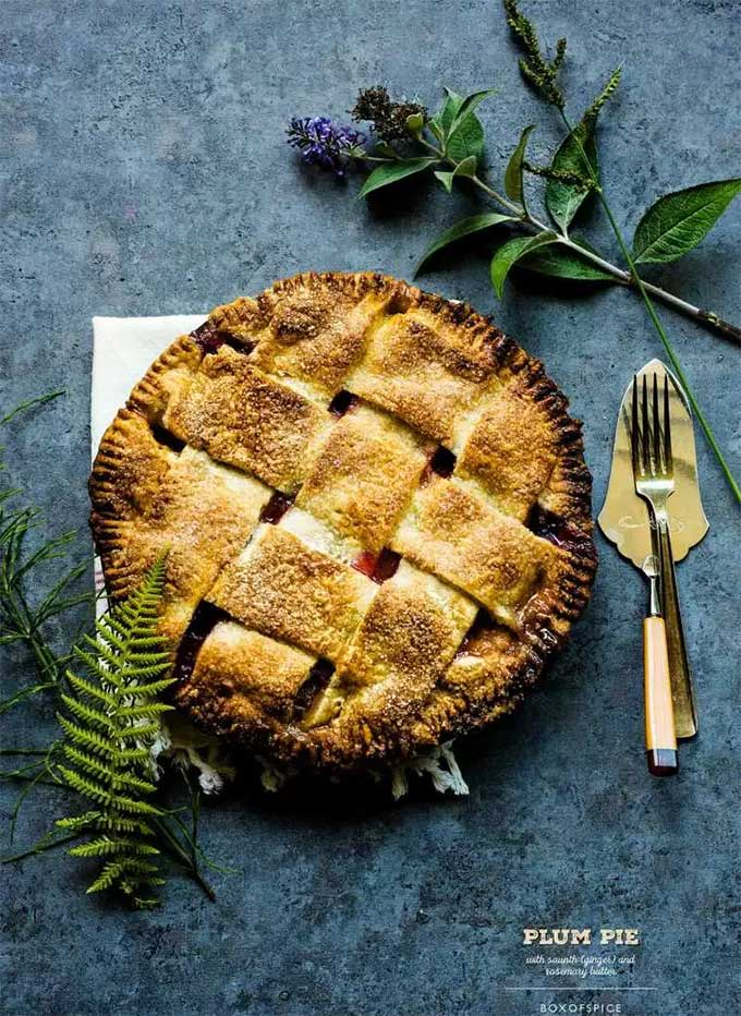 Plum pie with rosemary and ginger by Box of Spice
