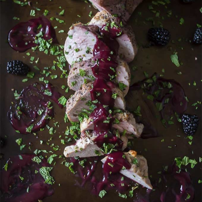 Pork tenderloin with blackberry mint port sauce by Nutmeg Nanny