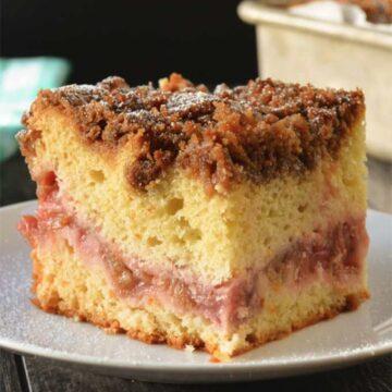 Strawberry rhubarb coffee cake by Serena Bakes