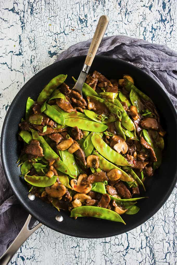 20-minute snow pea beef skillet - by Nutmeg Nanny
