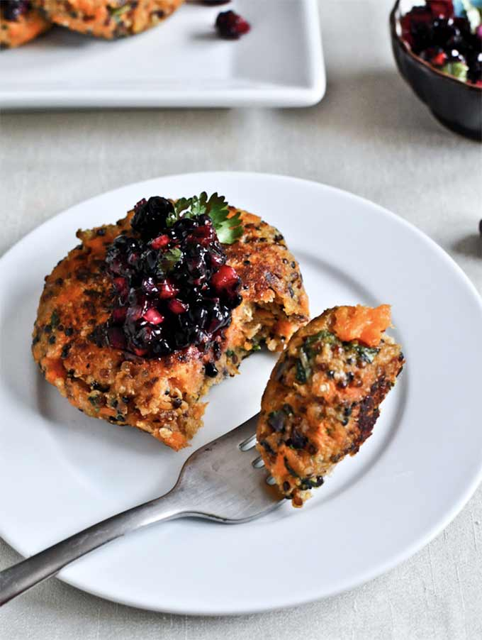 Sweet potato cakes with blackberry salsa by How Sweet It Is