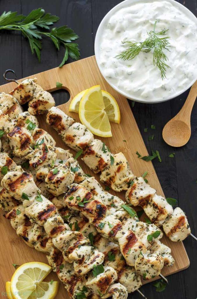 Greek lemon chicken skewers with tzatziki - by Recipe Runner