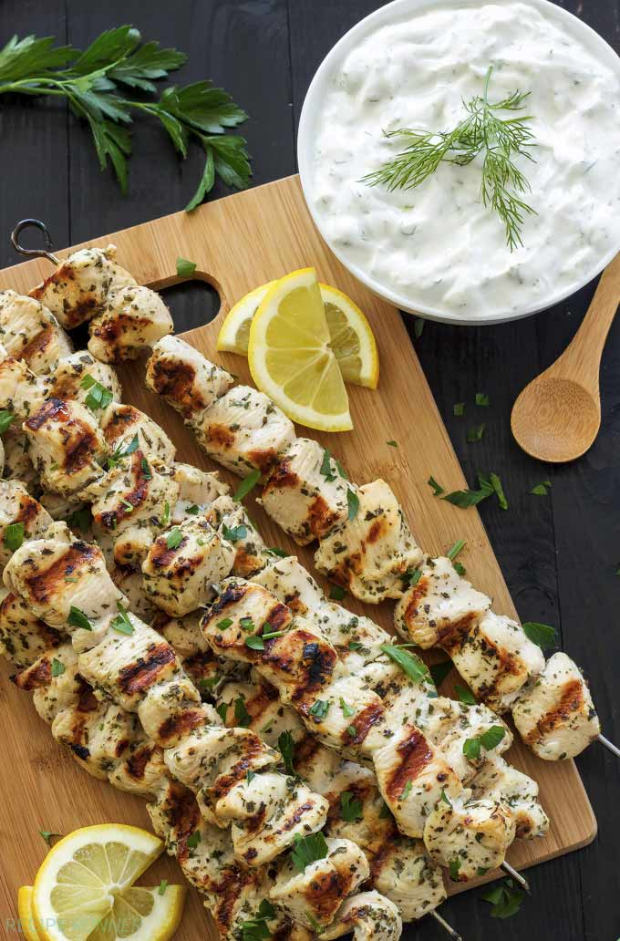 Greek lemon chicken skewers with tzatziki - by Recipe Runner
