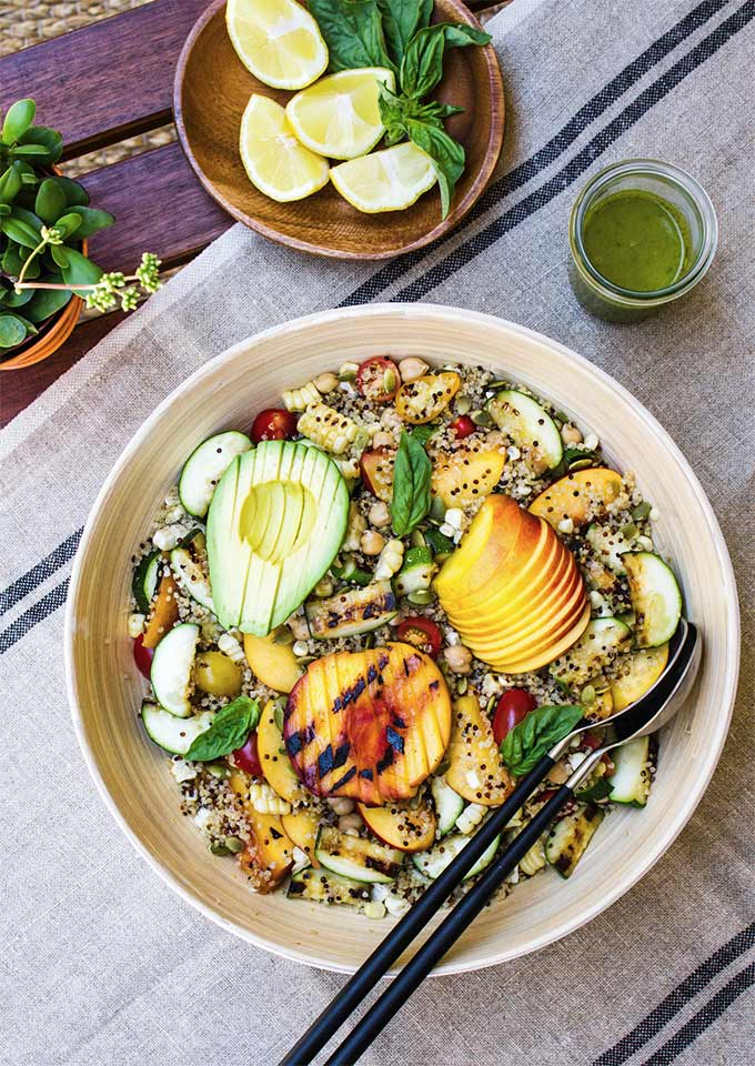 Grilled peach, corn, and zucchini salad - recipe by The Simple Veganista