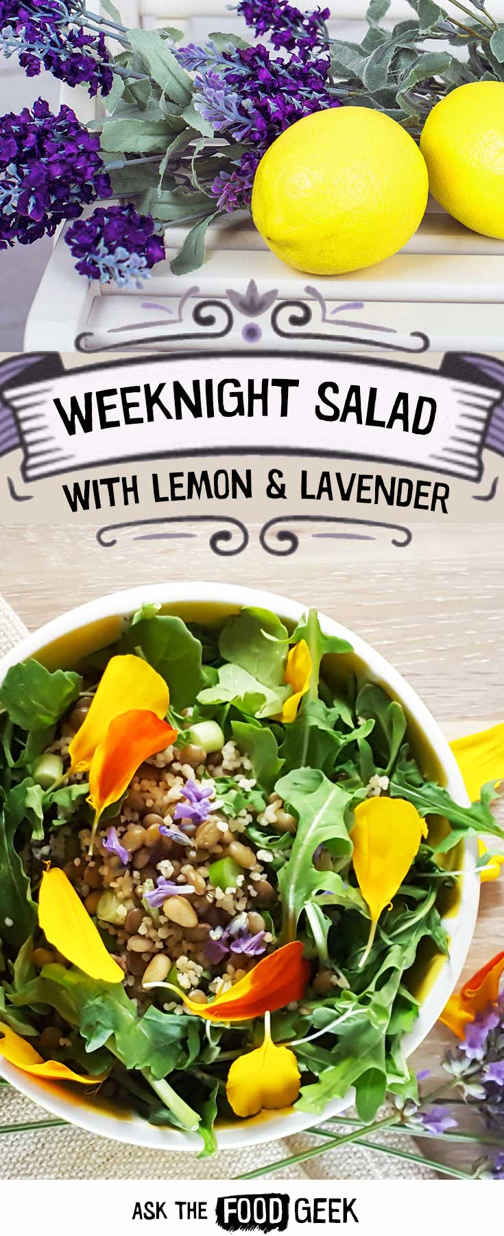 Dinner recipes - Salad for Dinner | Arugula, lentils, couscous, lavender, lemon and a honey dressing. This salad also is great as leftovers / great for make-ahead. Vegetarian. Edible flowers, including lavender and marigolds.