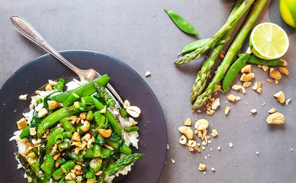 Dinner recipes | Ready in 20 minutes, asparagus and snap peas only need a few minutes of cooking time. A fast, fresh, spring stir fry.