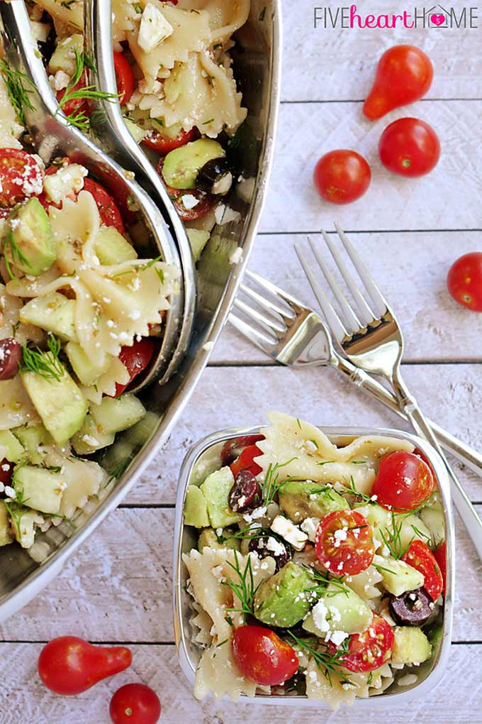 Tomato Cucumber Pasta Salad by Five Heart Home