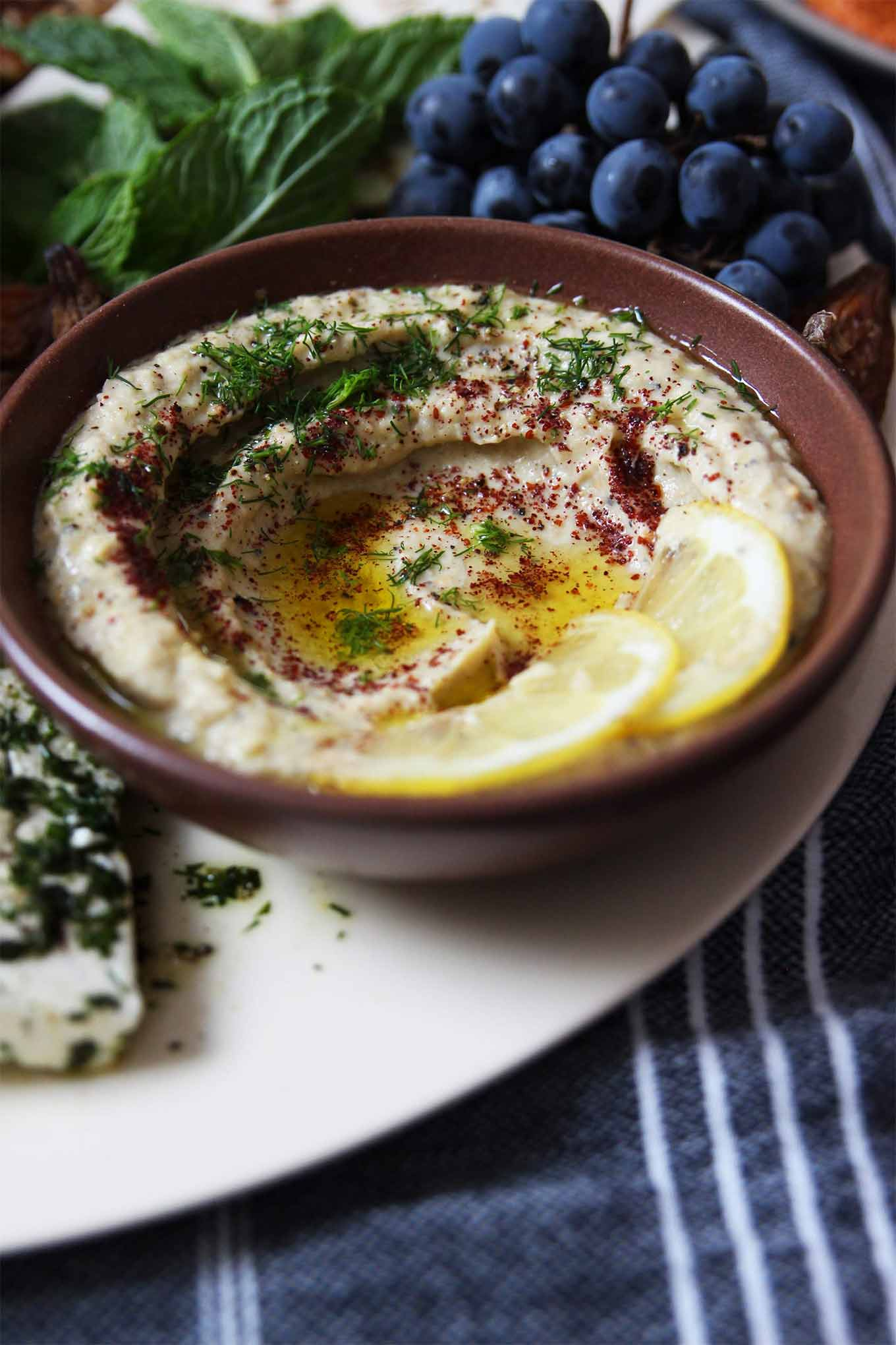 Eggplant recipes in season - baba ganoush and mezze platter by Honestly Yum