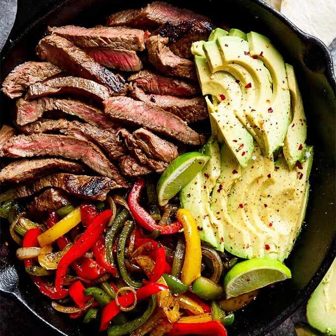 Bell pepper recipes in season: Chili lime steak fajitas recipe by Cafe Delites