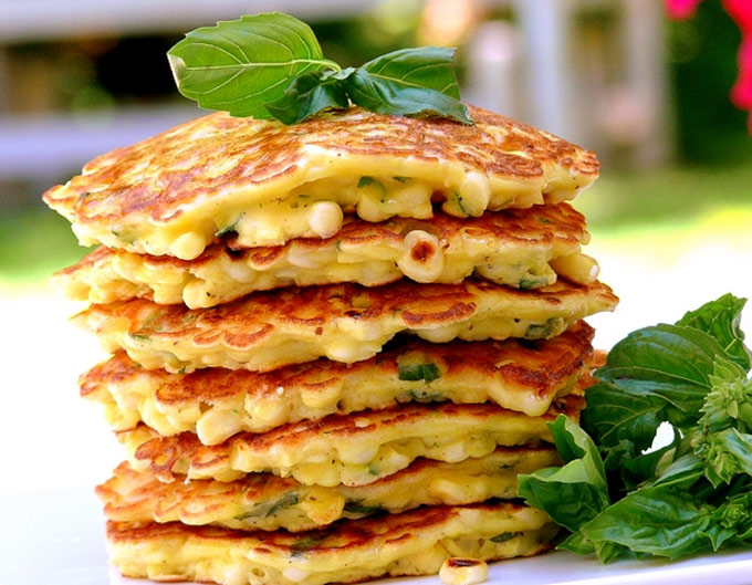 Corn and basil cakes - recipe by Noble Pig