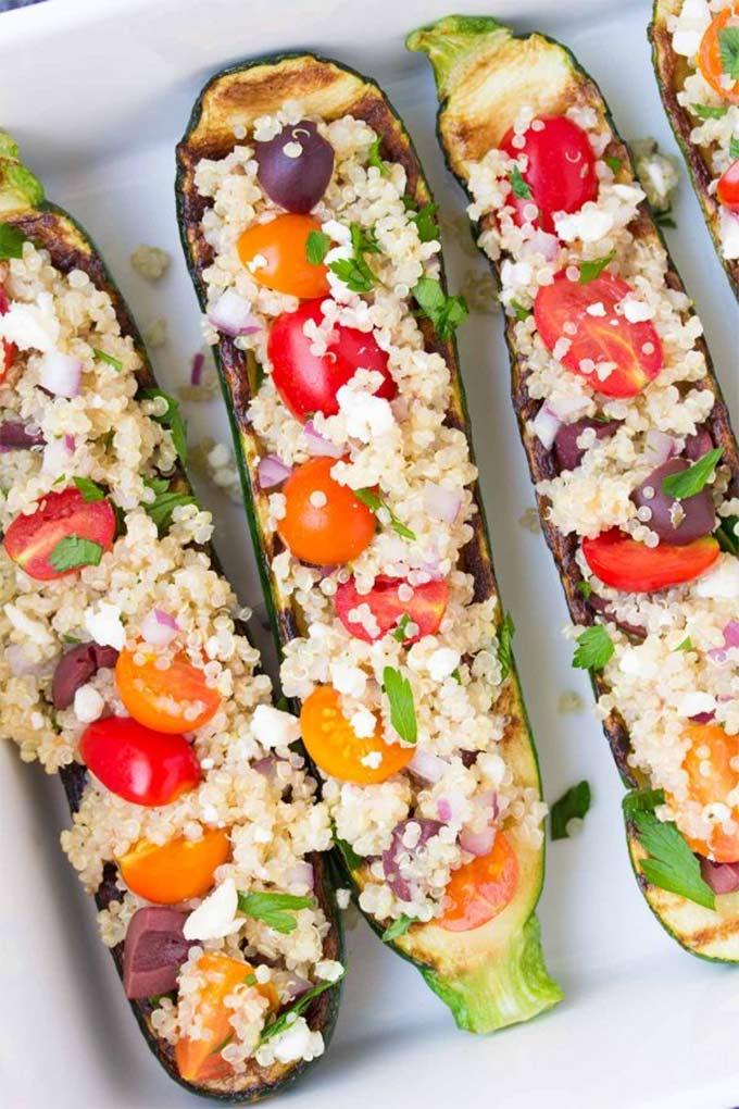 Green quinoa grilled zucchini boats - recipe by Kristine's Kitchen