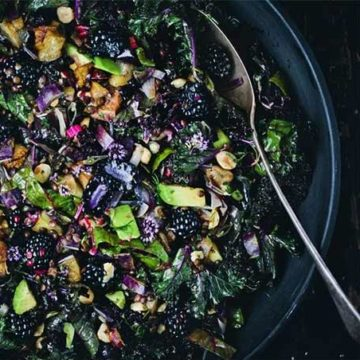 Eggplant recipes in season - purple kale, aubergine and blackberry salad by Green Kitchen Stories