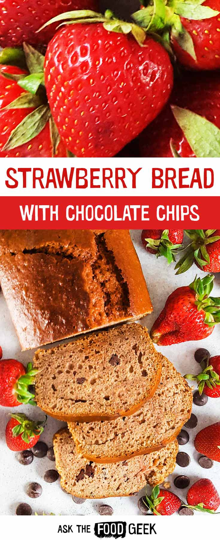 Strawberry bread with chocolate chips is an easy way to use up farmers market strawberries. Vegetarian. Dairy free.