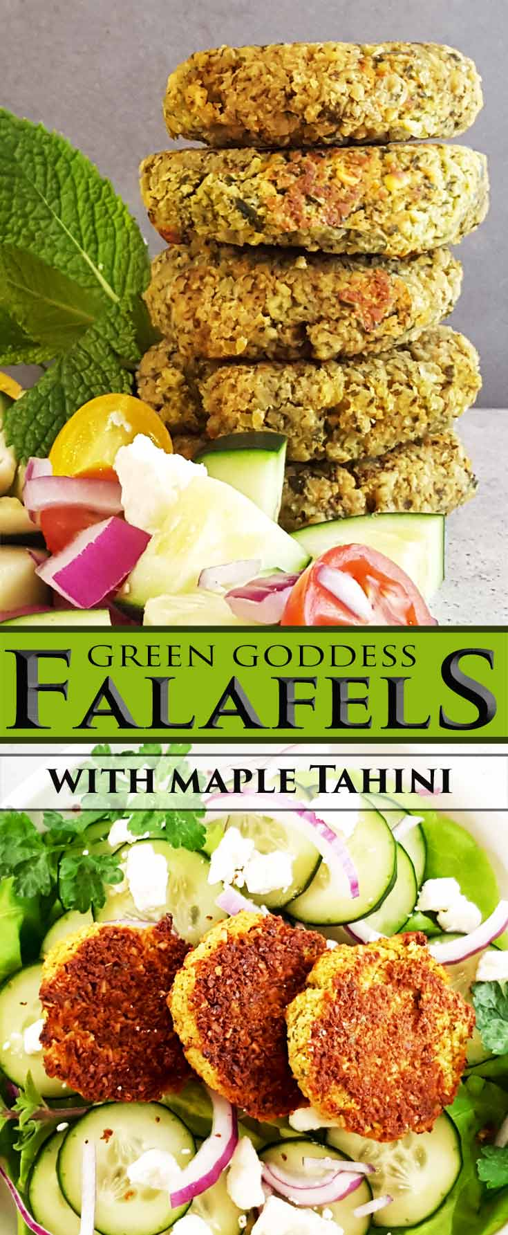 Homemade falafels get a flavorful twist, green goddess style. Serve with an easy maple tahini sauce on a pita sandwich or salad. Vegetarian. Perfect for a picnic, to make ahead, and to freeze.
