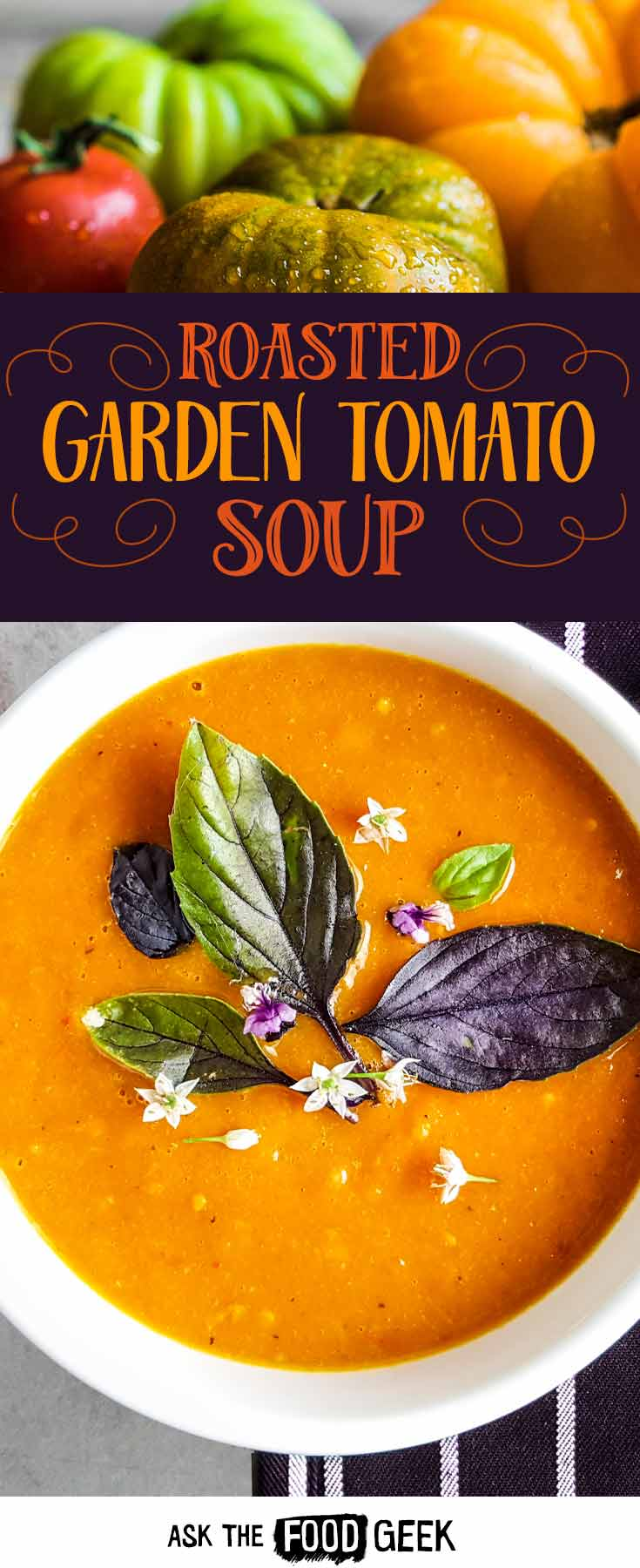 Tomato soup recipe with garden fresh roasted tomatoes and bell peppers. Make it in summer and freeze it until fall.