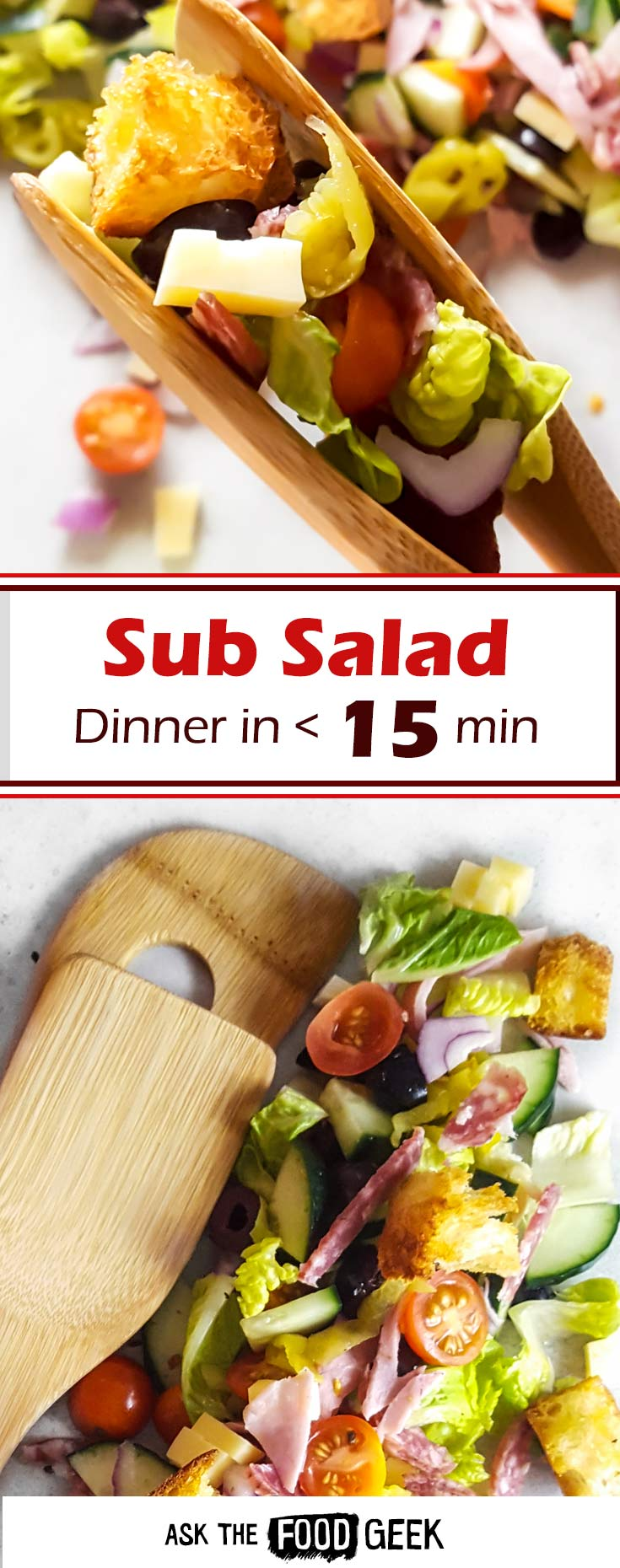Healthy Italian sub salad recipe - perfect for dinner on busy weeknights. Travels well for lunch on the go. Ready in under 15 minutes.
