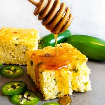 Cornbread with jalapenos and honey
