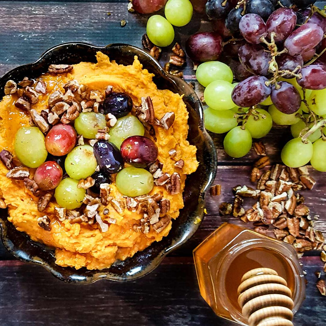 Sweet potatoes with roasted grapes & honey