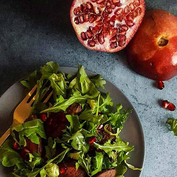 Pomegranate steak salad, recipe from the Persiana Cookbook