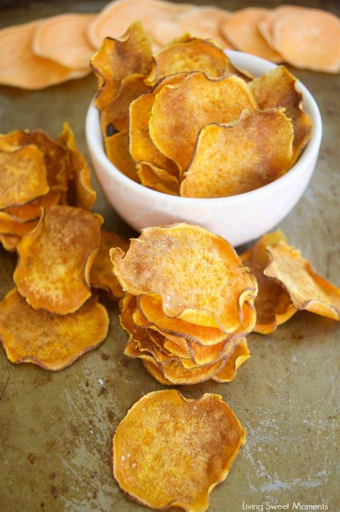 Baked sweet potato chips Living Sweet Moments