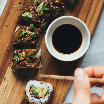 Eggplant Dragon Roll from The Land We Love On