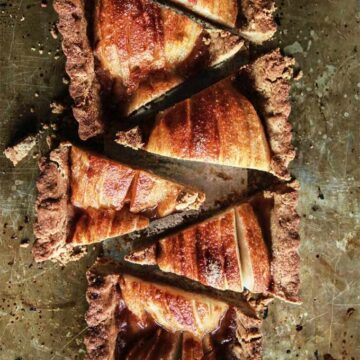 A gingerbread pear tart by Heather Christo