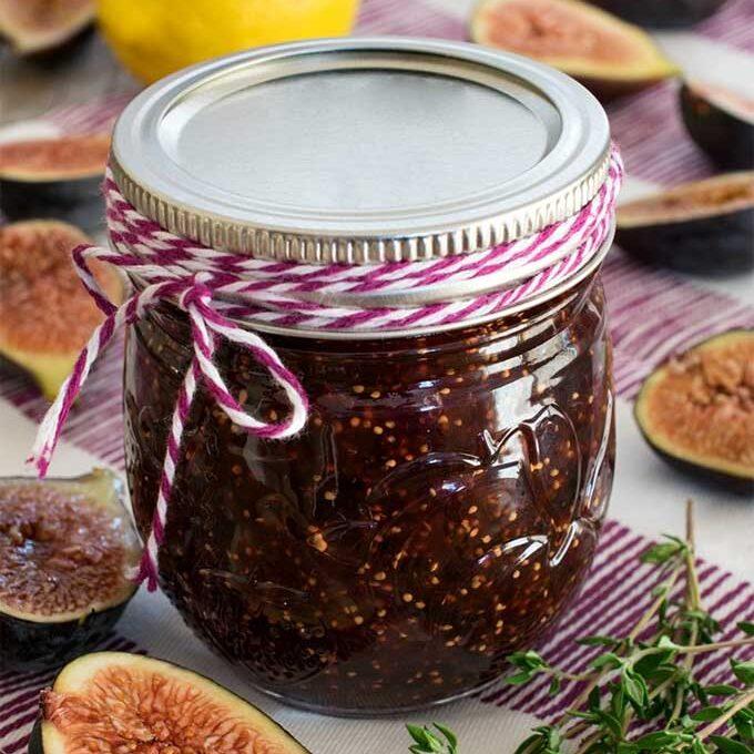A jar of homemade fig jam