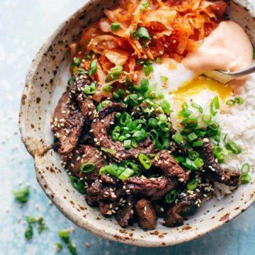 Korean BBQ bowls by Pinch of Yum